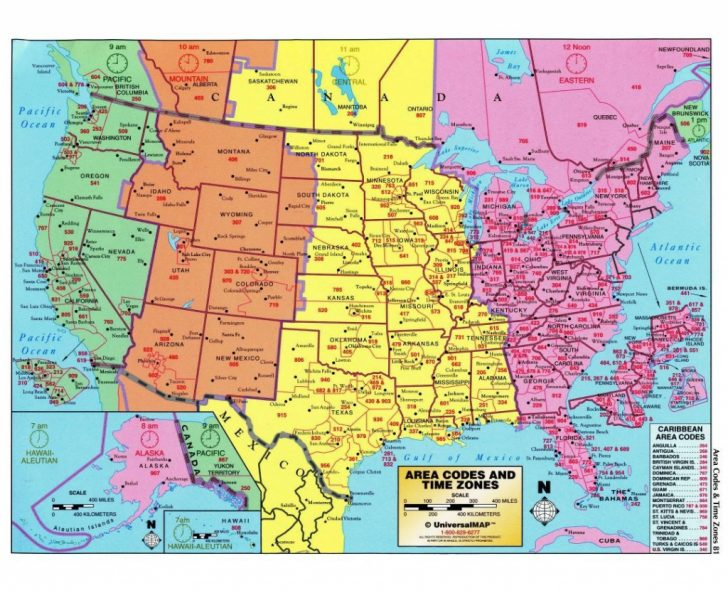 Printable North America Time Zone Map
