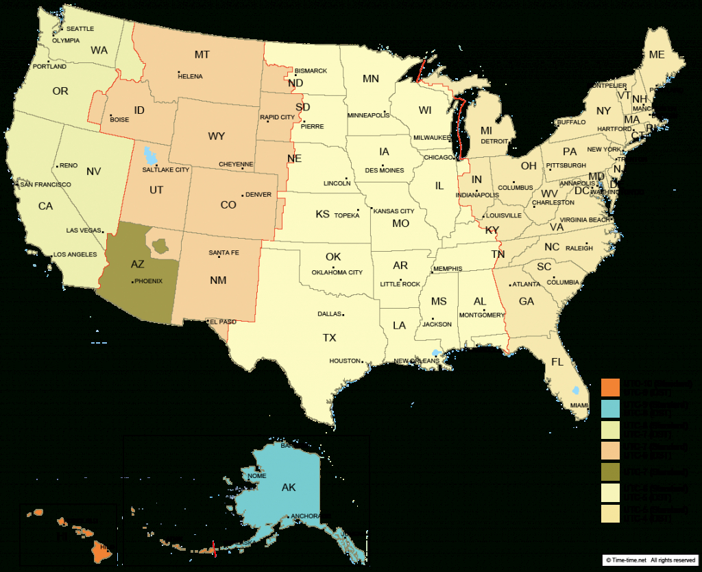 Usa Time Zone Map - With States - With Cities - With Clock - With - Us Map With States And Time Zones Printable