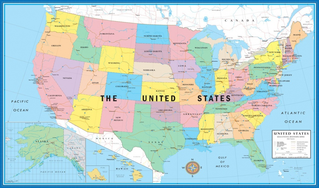 Usa World Map Educational Beginners Level California With Cities On - Full Map Of California