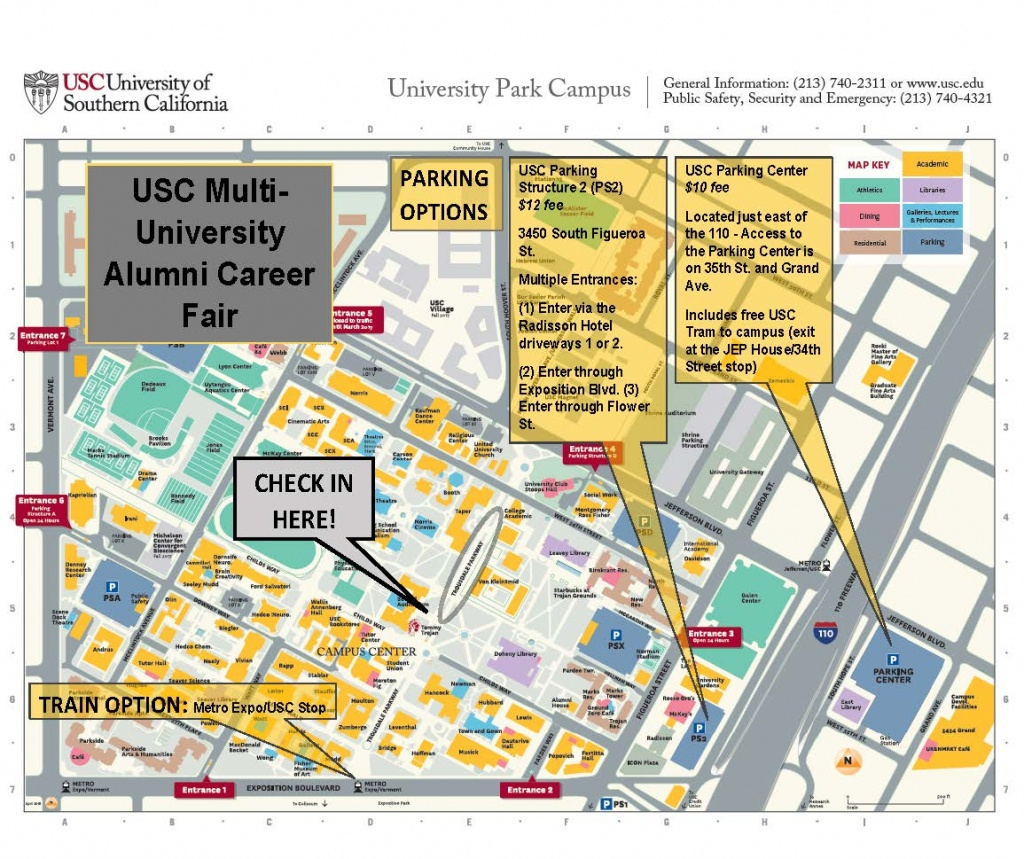 Usc Multi-University Alumni Career Fair Parking Map | Career Center - Usc Campus Map Printable