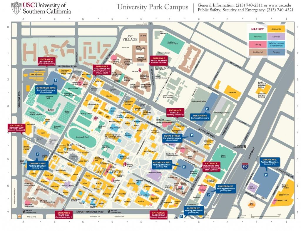 Usc University Park Campus Parking Structures, Entrances Get New - Usc Campus Map Printable
