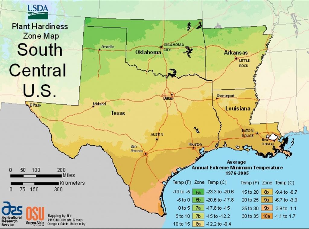 Usda Plant Hardiness Zone Mapsregion - Texas Growing Zone Map