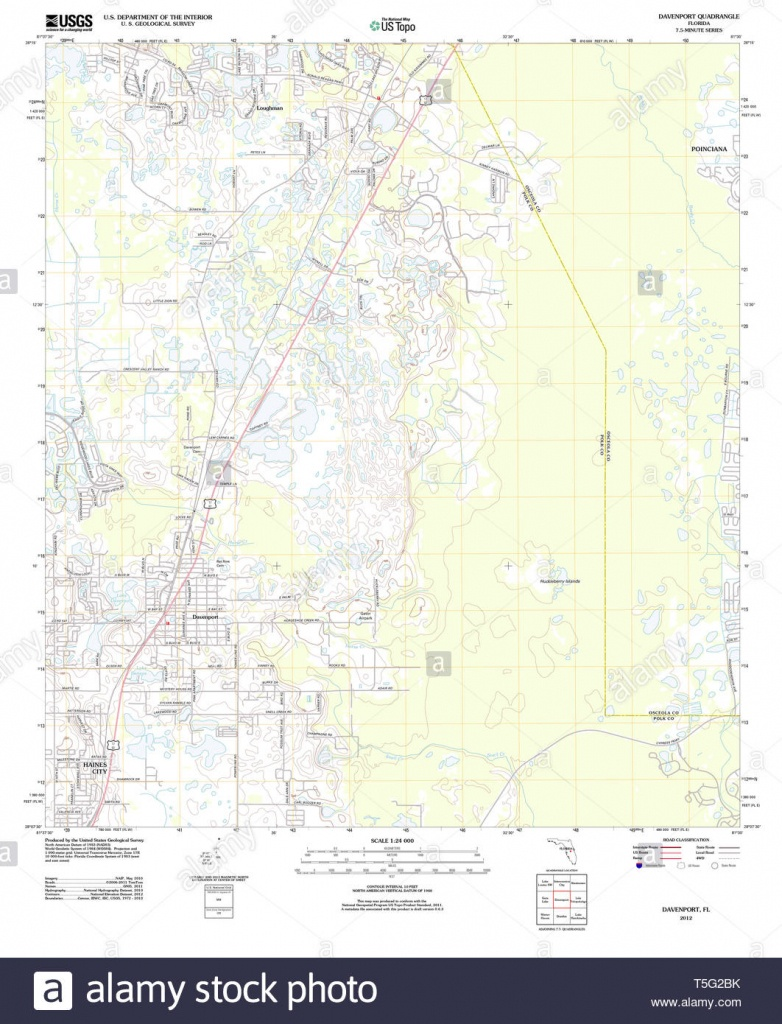 Usgs Topo Map Florida Fl Davenport 20120720 Tm Restoration Stock - Davenport Florida Map