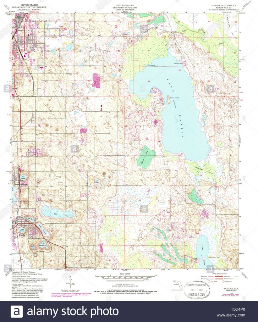 Usgs Topo Map Florida Fl Dundee 345890 1953 24000 Restoration Stock - Dundee Florida Map