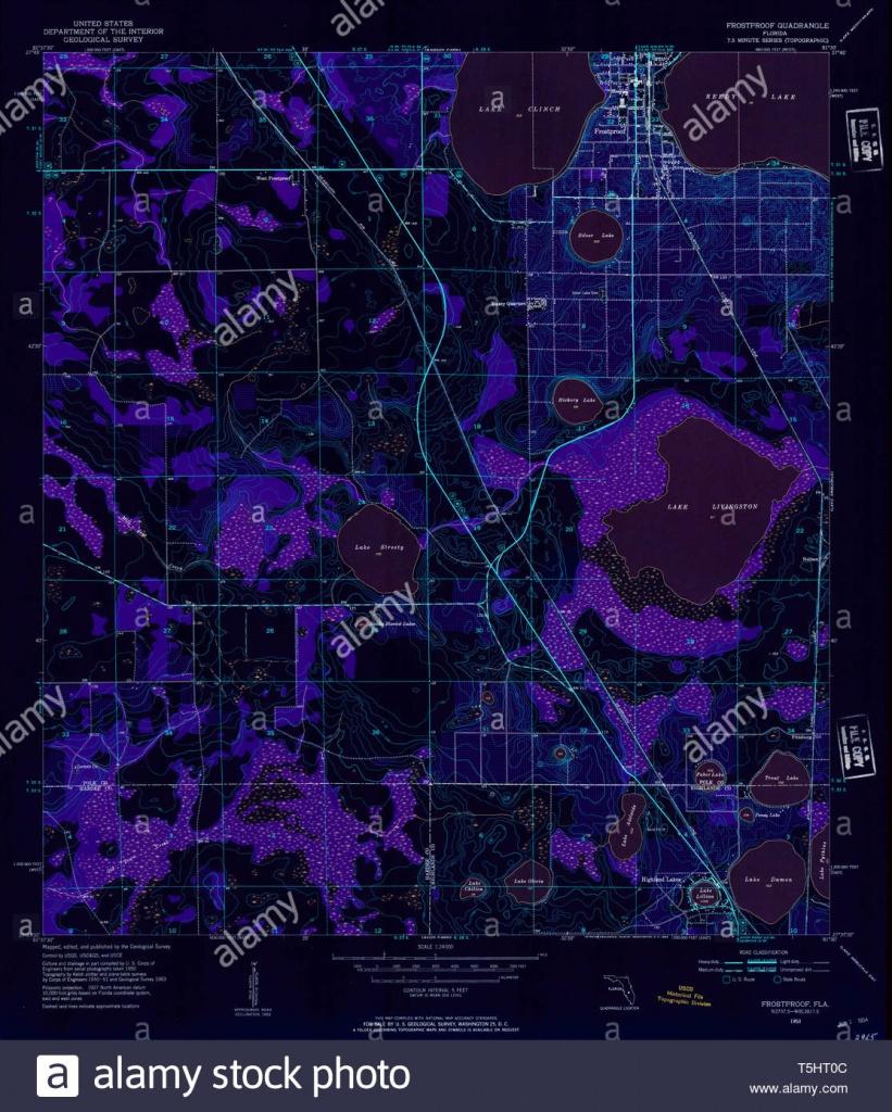 Usgs Topo Map Florida Fl Frostproof 346354 1953 24000 Inverted - Frostproof Florida Map
