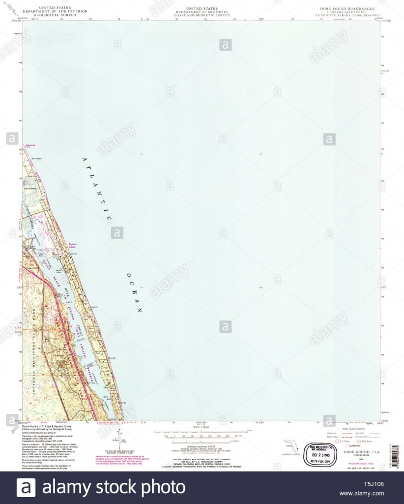 Usgs Topo Map Florida Fl Hobe Sound 346644 1948 24000 Restoration - Map Of Florida Showing Hobe Sound