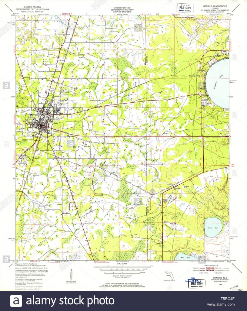 Usgs Topo Map Florida Fl Starke 348694 1949 24000 Restoration Stock - Starke Florida Map