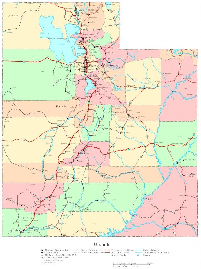 Utah Printable Map - Printable Map Of Utah