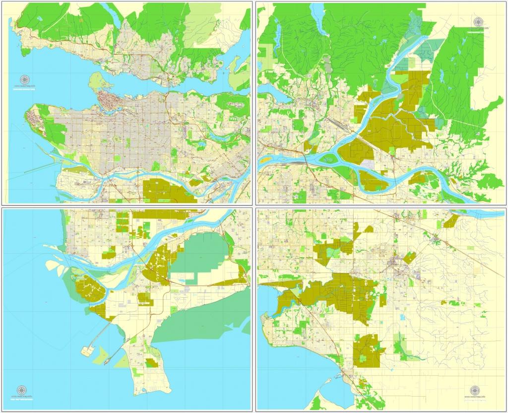 Vancouver Exact Map V.3.09: Printable City Plan Map In 4 Parts Of - Printable Map Of Vancouver