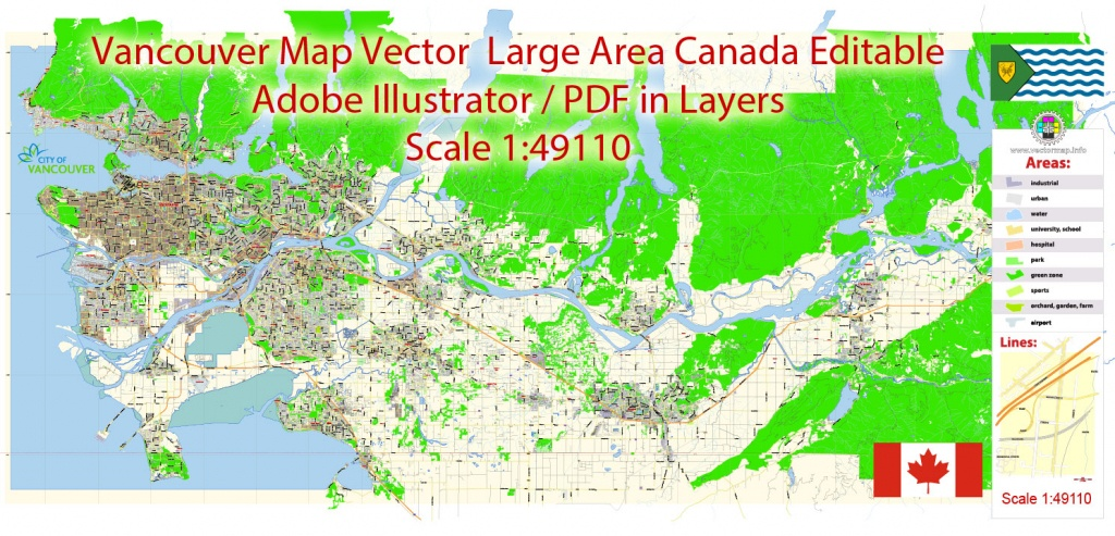 Vancouver Pdf Map Large Long Area Canada In Layers Editable Adobe Pdf - Printable Map Of Vancouver