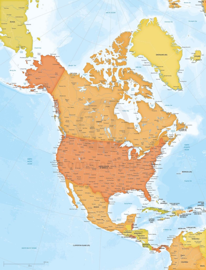 Vector Map North America Bathymetry Xl | One Stop Map - Printable Map Of North America With Labels