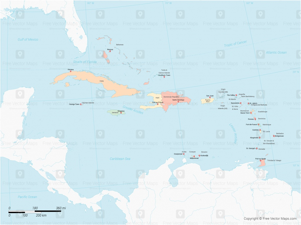 Vector Map Of Caribbean Islands With Countries - Multicolor | Free - Free Printable Map Of The Caribbean Islands
