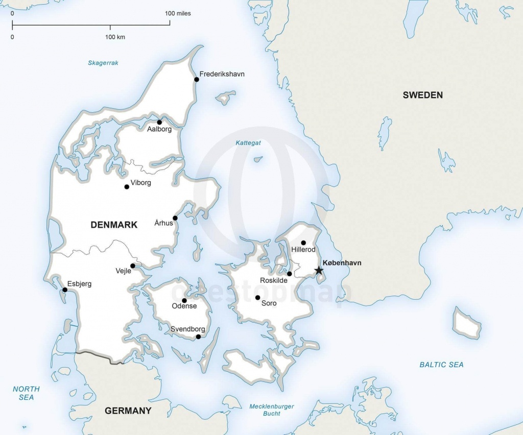 Vector Map Of Denmark Political | One Stop Map - Printable Map Of Denmark