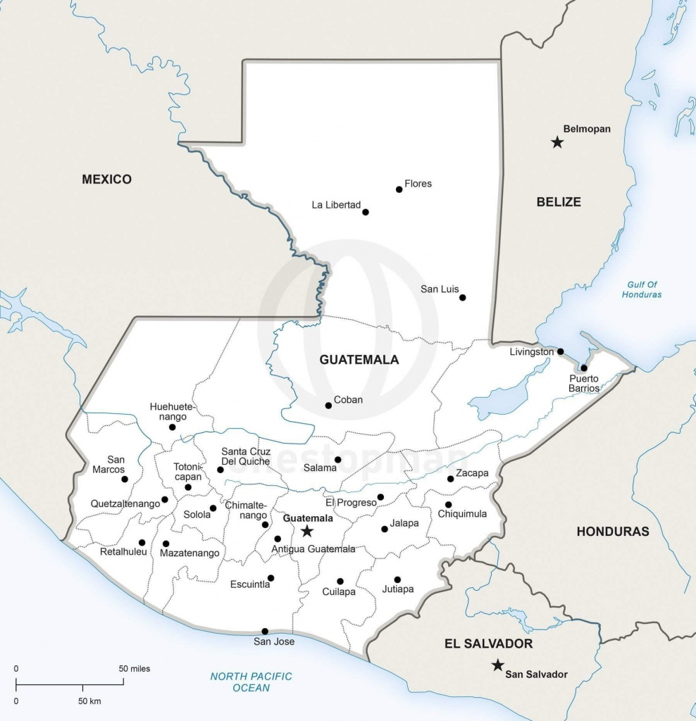Vector Map Of Guatemala Political | One Stop Map - Printable Map Of Guatemala