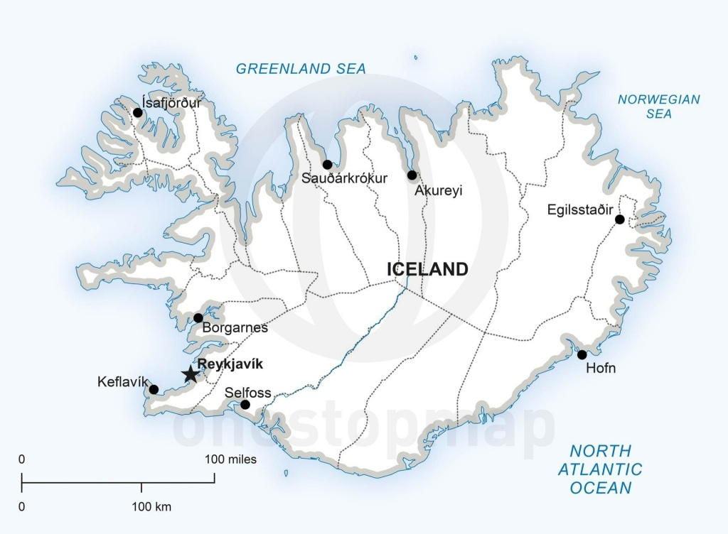 Vector Map Of Iceland Political | Maps Of Europe - Continent - Printable Map Of Greenland
