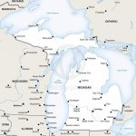 Vector Map Of Michigan Political | One Stop Map   Michigan River Map Printable