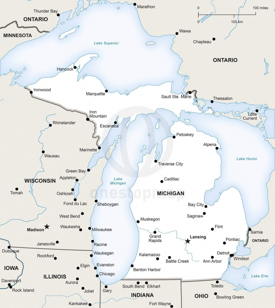 Vector Map Of Michigan Political | One Stop Map - Michigan River Map Printable