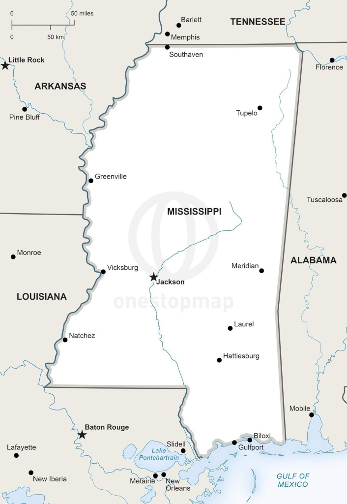 Vector Map Of Mississippi Political   One Stop Map - Printable Map Of Mississippi