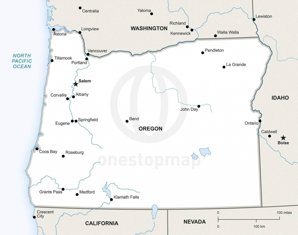 Vector Map Of Oregon Political | One Stop Map - Printable Map Of Oregon