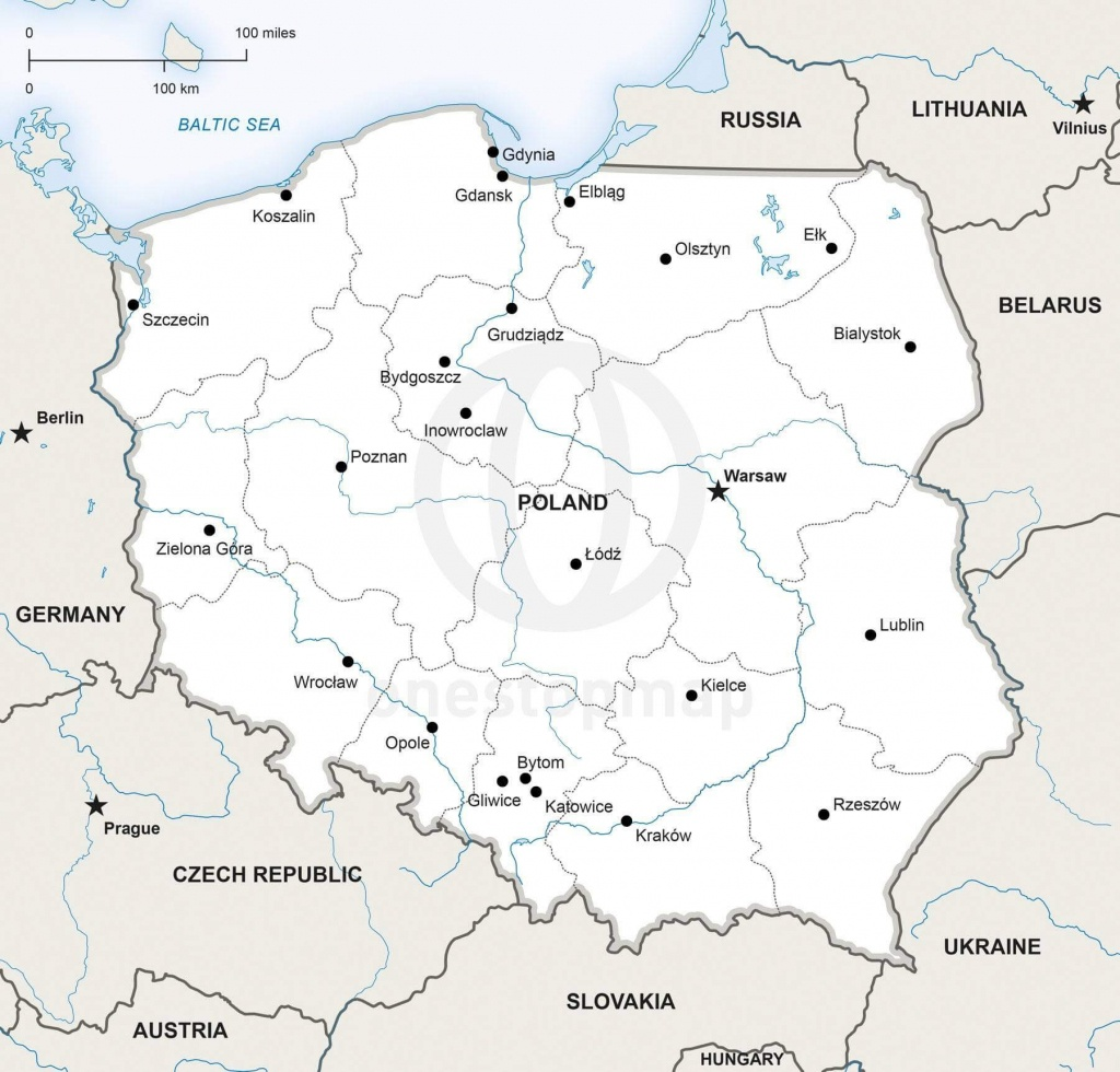 Vector Map Of Poland Political | One Stop Map - Printable Map Of Poland