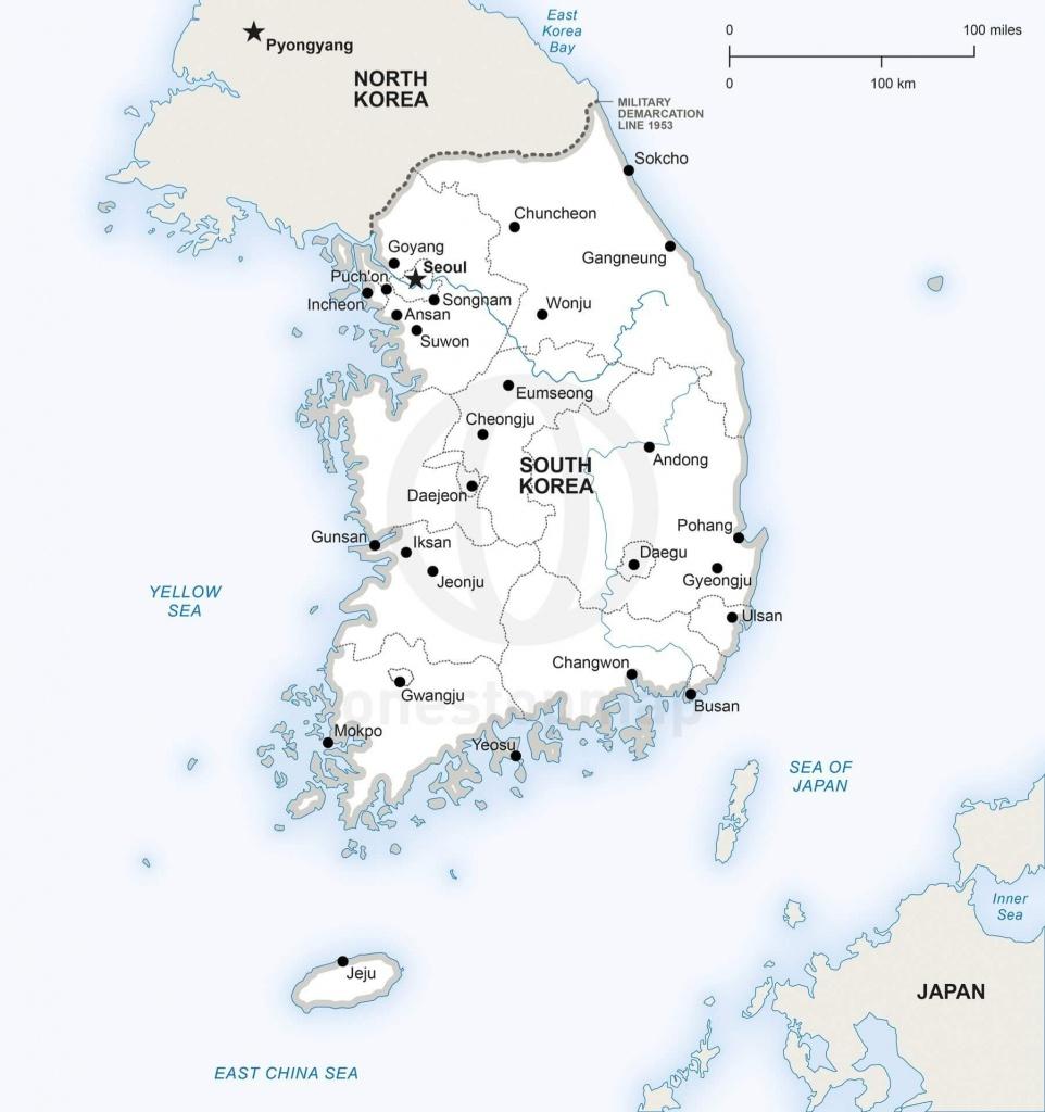 Vector Map Of South Korea Political   One Stop Map - Printable Map Of Korea