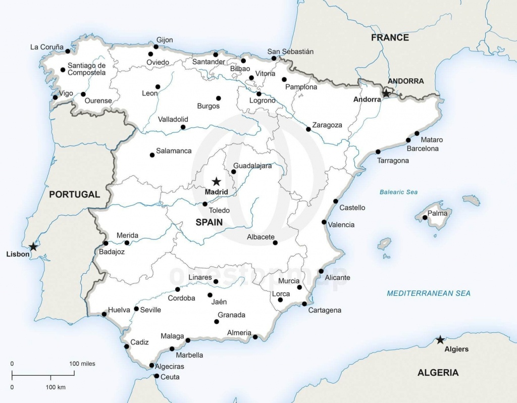Vector Map Of Spain Political | One Stop Map - Printable Map Of Spain With Cities