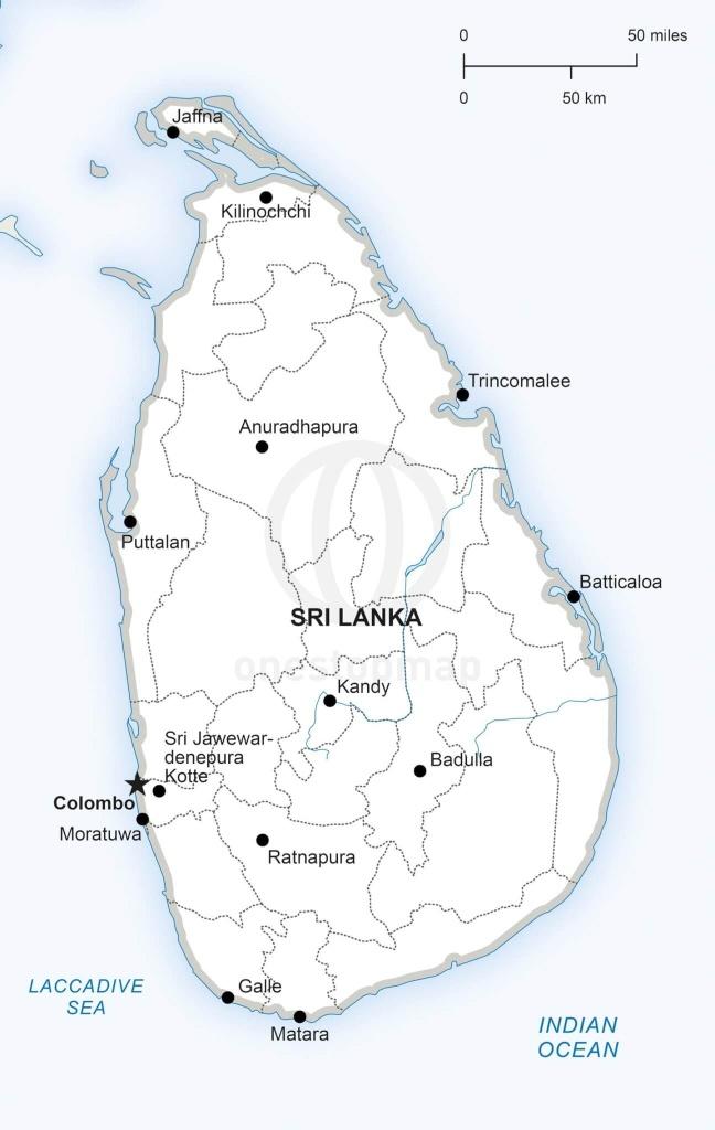 Vector Map Of Sri Lanka Political   One Stop Map - Printable Map Of Sri Lanka