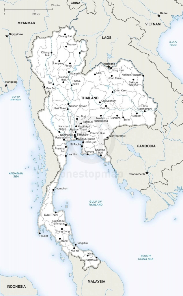 Vector Map Of Thailand Political   One Stop Map - Printable Map Of Thailand