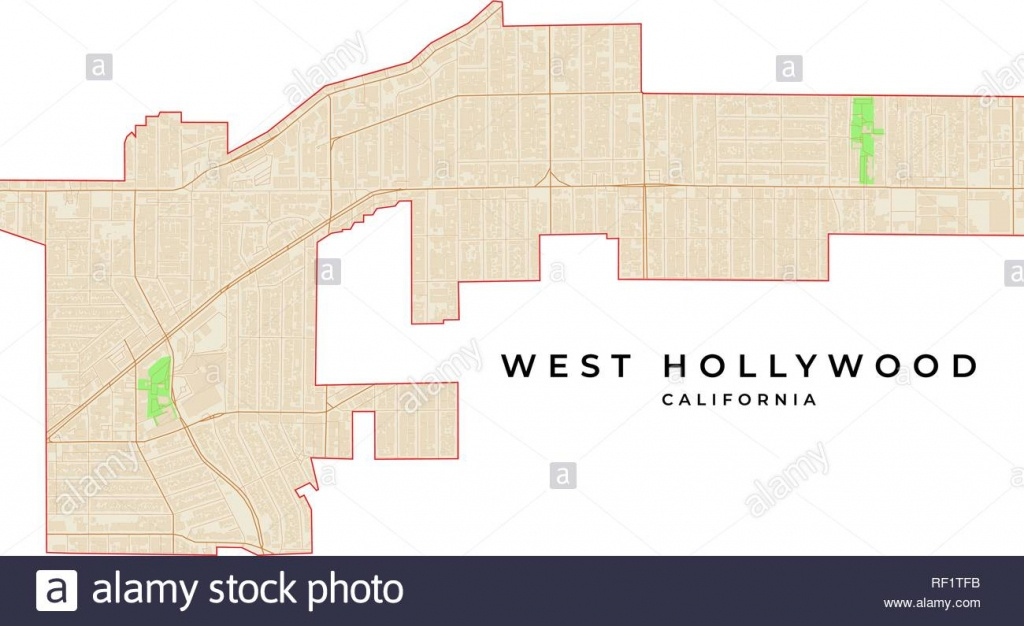 Vector Map Of West Hollywood, California, Usa. Various Colors For - Map Of West Hollywood California