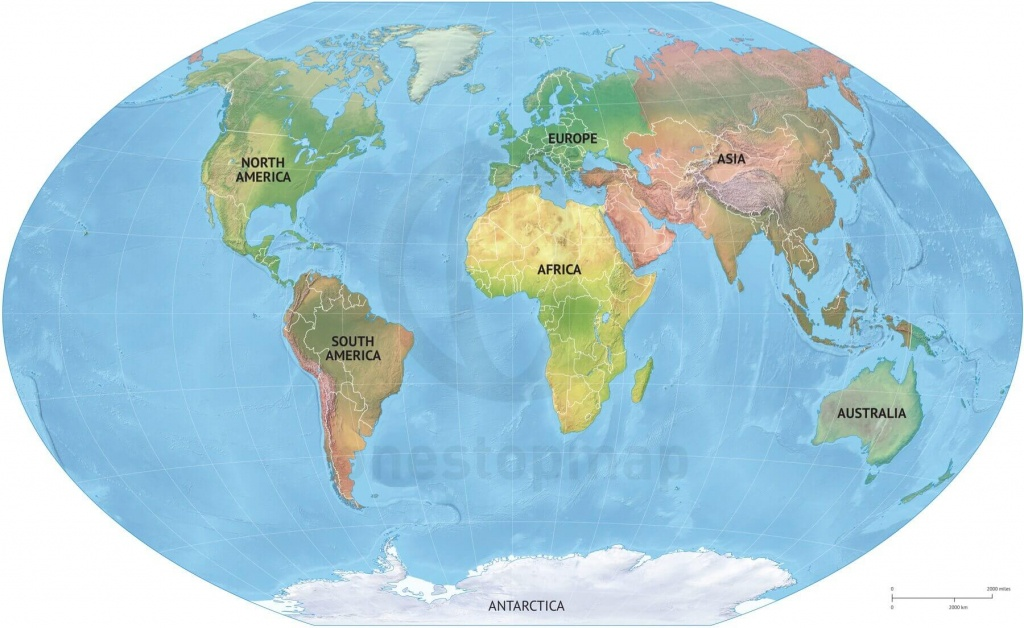 Vector Map World Relief Continents Political | One Stop Map - Printable Map Of Continents