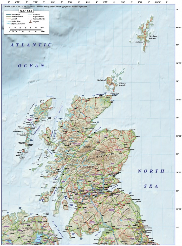 Vector Scotland Regions Road Map With 600Dpi High Resolution Old - Printable Road Map Of Scotland