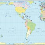 Vector World Political Map In The Eckert Iv Projection Us Centric In - Small World Map Printable