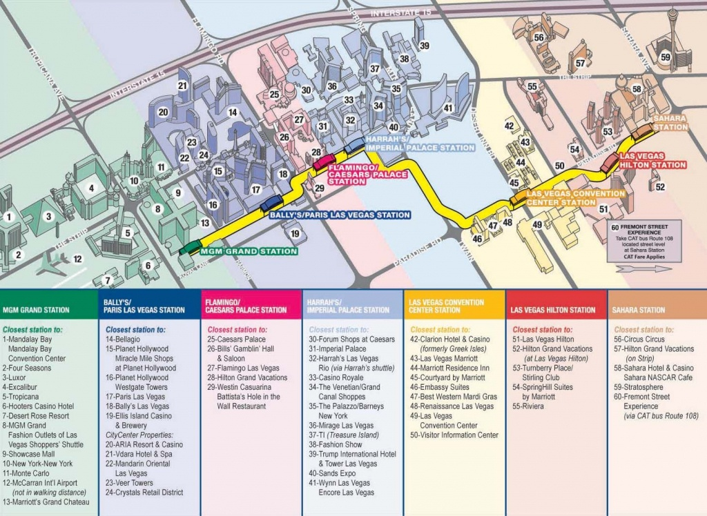Vegas Monorail Map 2012    Vegas Convention Center Station Las - Printable Map Of Las Vegas Strip With Hotel Names