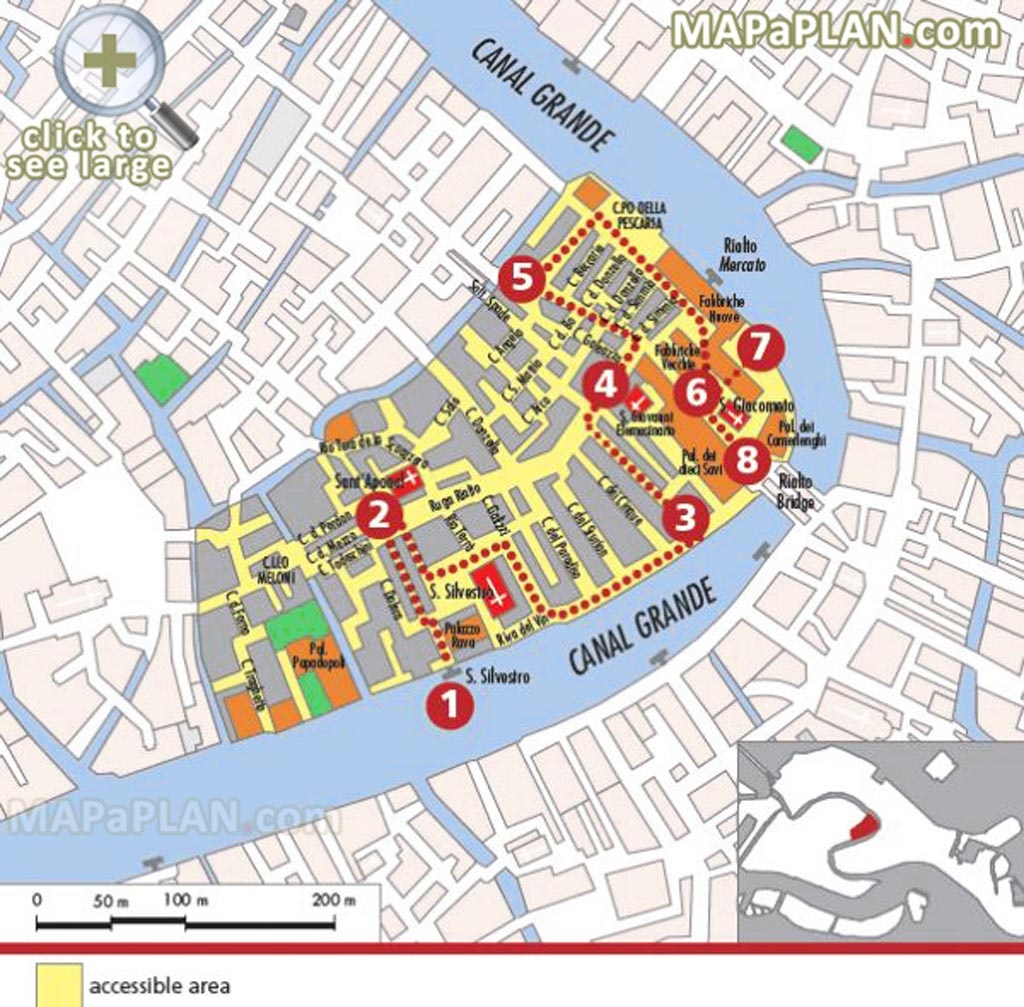 Venice Top Tourist Attractions Map Explore Rialto Market Major - Printable Walking Map Of Venice Italy