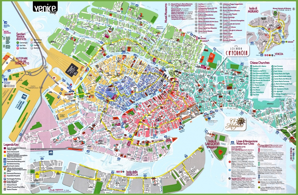 Venice Tourist Attractions Map - Street Map Of Venice Italy Printable