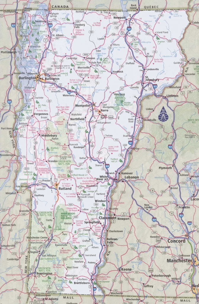 Vermont Road Map - Printable Map Of Vermont