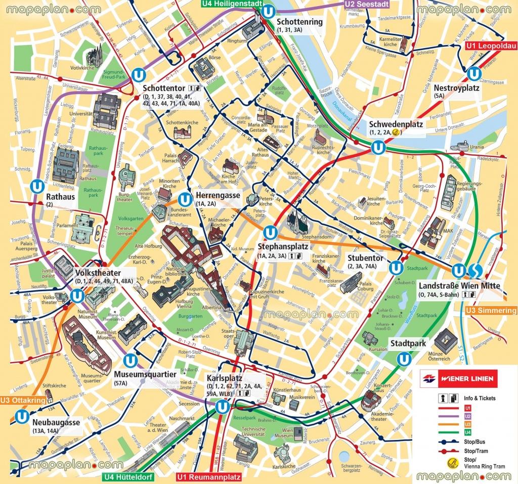 Vienna Map Ubahn Underground Subway Metro Stations Tram Stops - Printable Map Of Vienna