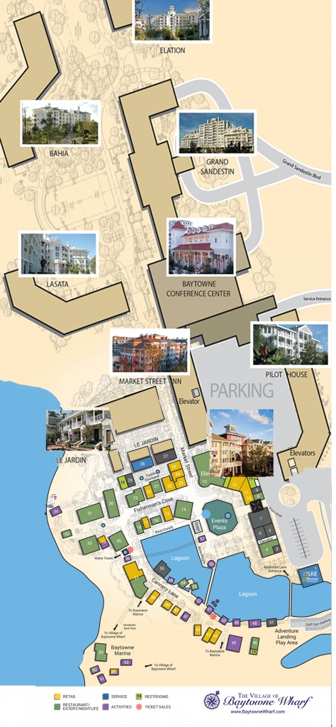 Village Map | The Village Of Baytowne Wharf | Located In Sandestin - Where Is Destin Beach Florida On The Map