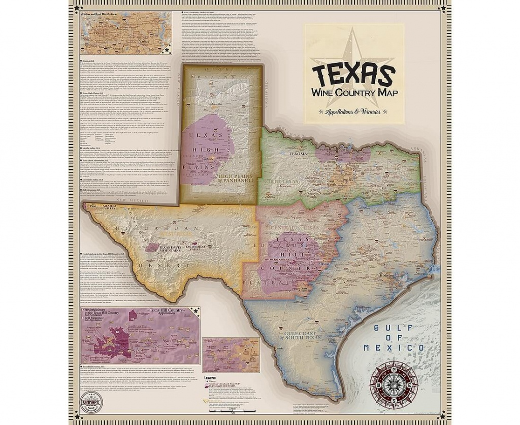 Vinmaps Texas Wine Country Map, Appellations & Wineries Review - Texas Winery Map