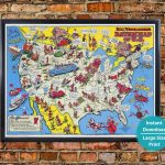 Vintage 1944 Us Map Print Historical Map Usa Wwii Digital | Etsy   Us Quarter Map Printable