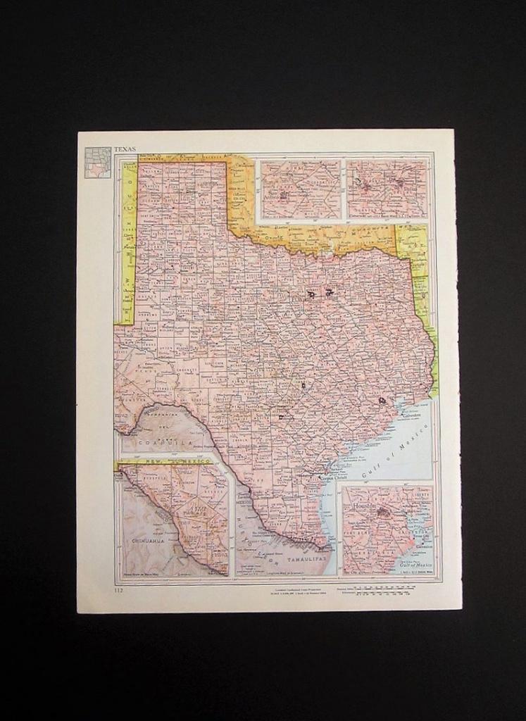 Vintage 1960 Texas Map / Map Wall Art / Office Decor / Texas | Etsy - Texas Map Wall Art