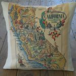 Vintage California Map Pillow Travel Geography Ca | Etsy   California Map Pillow