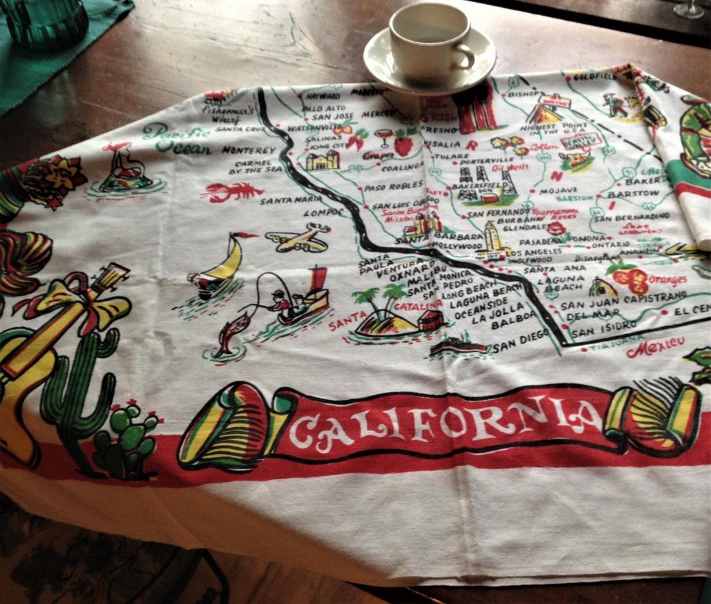Vintage California Tablecloth, California Map Tablecloth, 1950S Mid Century  Souvenir Kitsch - Vintage California Map Tablecloth