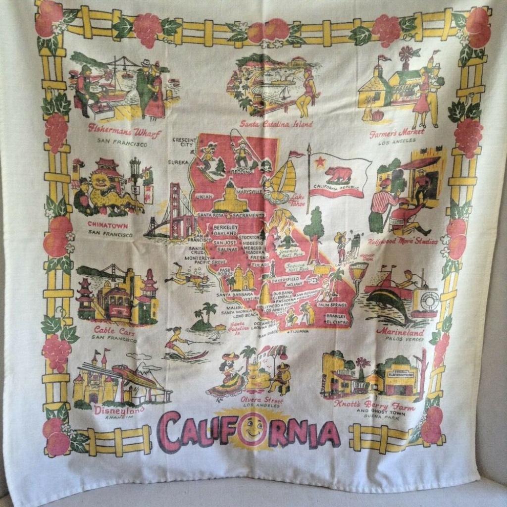 Vintage California Tourist Tablecloth Map Card Table Cloth   Ebay - Vintage California Map Tablecloth
