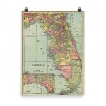 Vintage Florida Map 1909 Fl Colorful Counties Atlas Poster   Etsy - Vintage Florida Map Poster