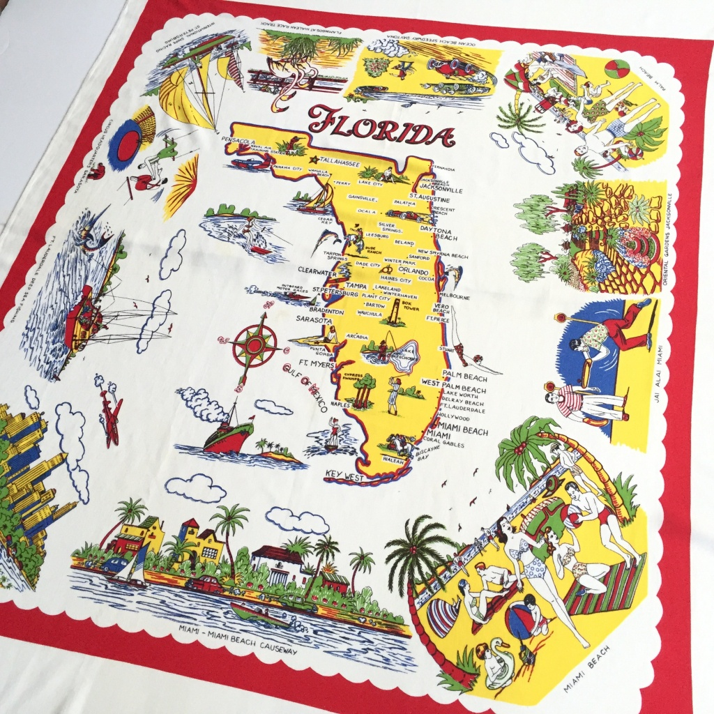 Vintage Florida Tablecloth Souvenir Map 1950S Kitsch | Etsy - Vintage Florida Map Tablecloth