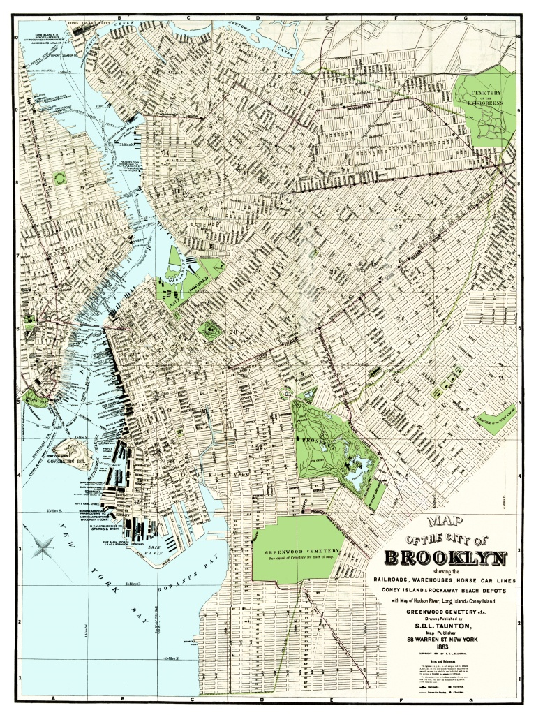 Vintage Guide Map And Directory Of Brooklyn From 1883 - Knowol - Printable Map Of Brooklyn