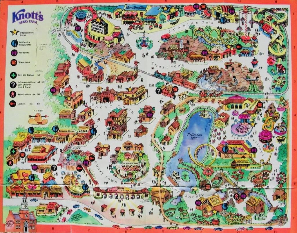 Vintage Knott's Park Map Circa 1970's: Wacky Soapbox Racer - Knotts Berry Farm Map California