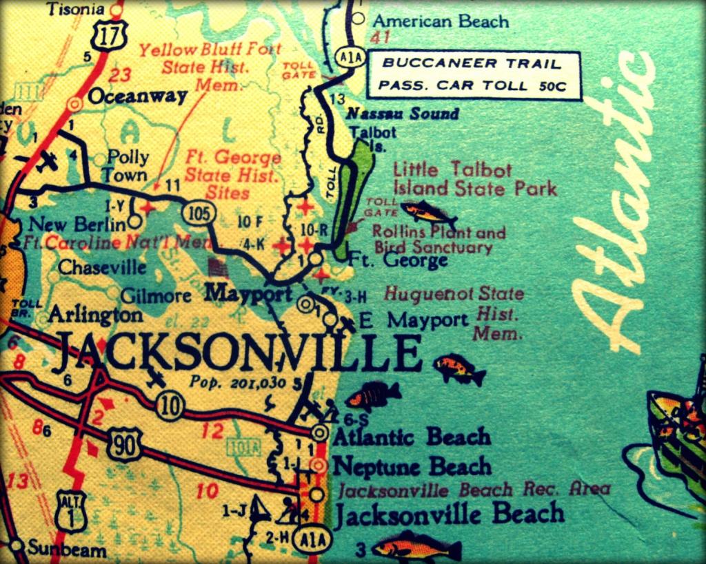 Vintage Map Jacksonville Retro Florida Photograph Print 8X10 | Etsy - Vintage Florida Map