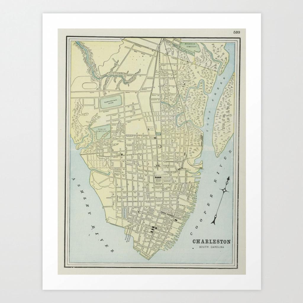 Vintage Map Of Charleston Sc (1901) Art Printbravuramedia   Society6 - Printable Map Of Charleston Sc